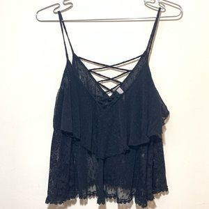 Free People Sheer Lace Strappy Cami Top